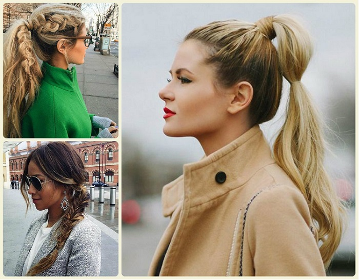 fashion models wearing different ponytail hairstyles