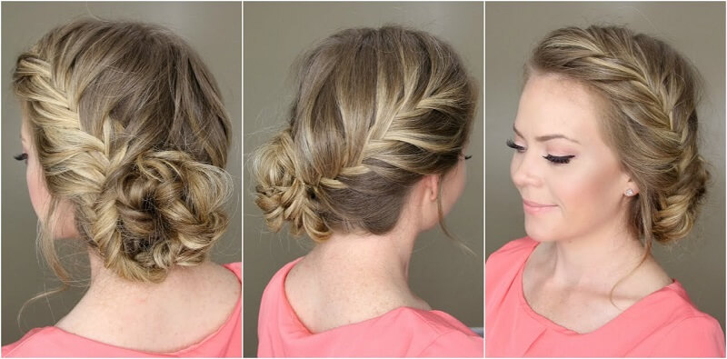 a woman with a low bun hairstyle