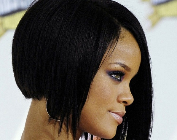 singer Rihanna with an asymmetrical bob haircut