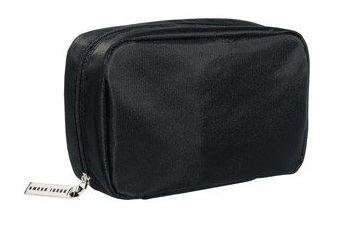 a small simple black makeup bag