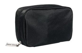 a small simple black makeup bag