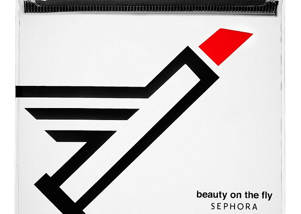 a flight Sephora makeup bag