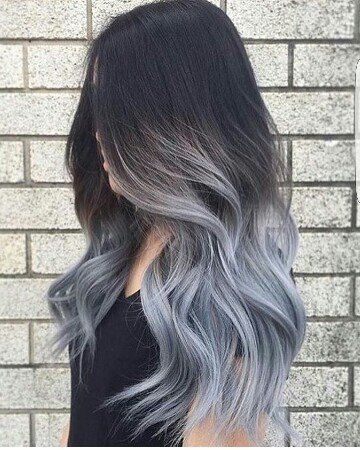 hair color ideas for brunettes - gray dyed tips/ends