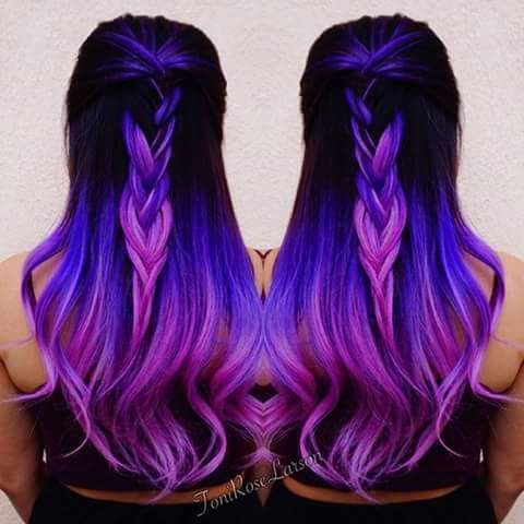 hair color ideas for brunettes - purple galaxy hair dye