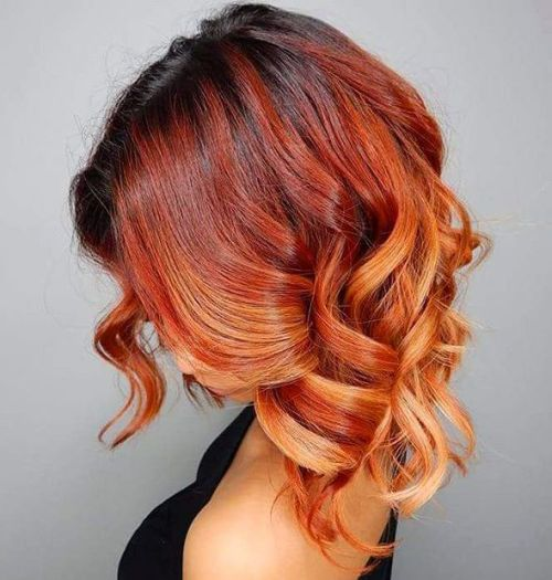 hair color ideas for brunettes - red copper curly ombre hair