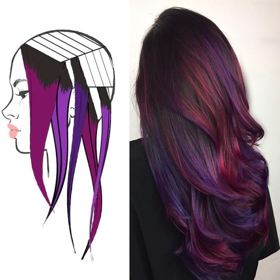 hair color ideas for brunettes - purple fold in highlights/streaks