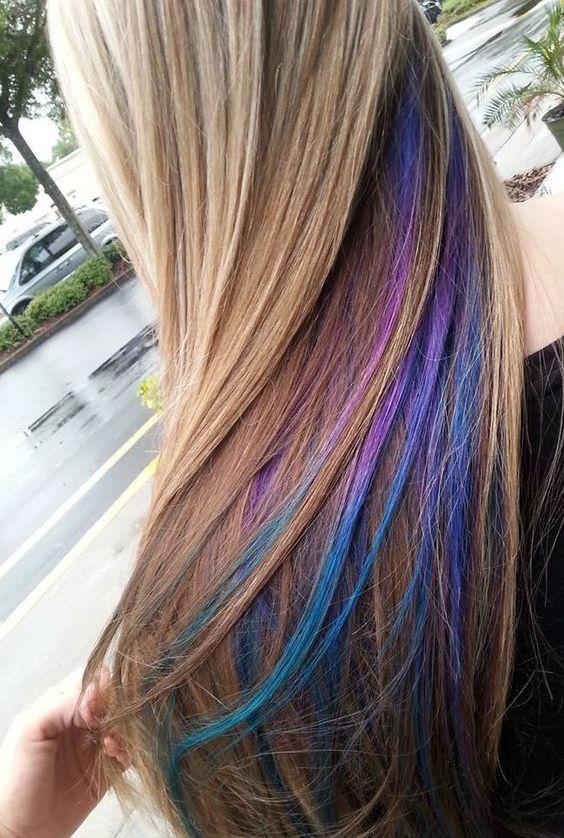 hair color ideas for brunettes - blue and purple highlights/streaks