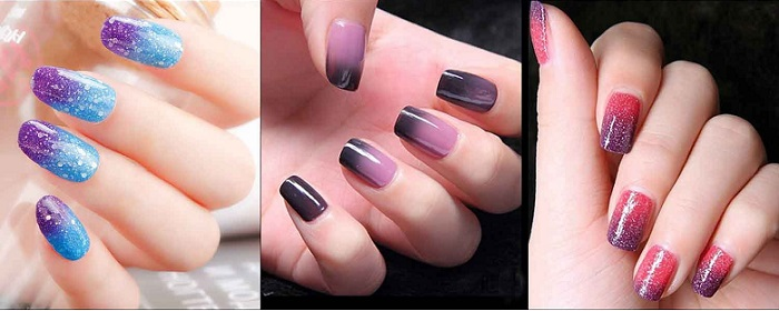 several examples of color changing polish