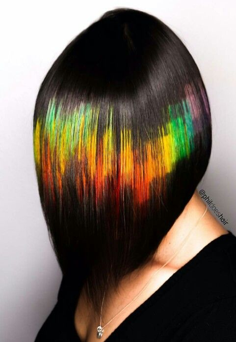 36 Hair Color Ideas That Are Totally Trending On Pinterest - trippy rainbow colored hair