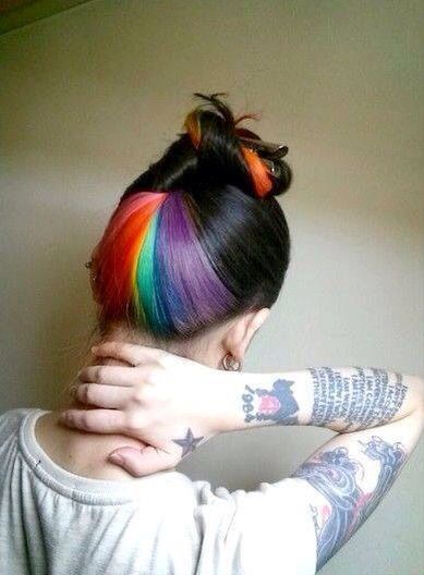 36 Hair Color Ideas That Are Totally Trending On Pinterest - rainbow peek a boo