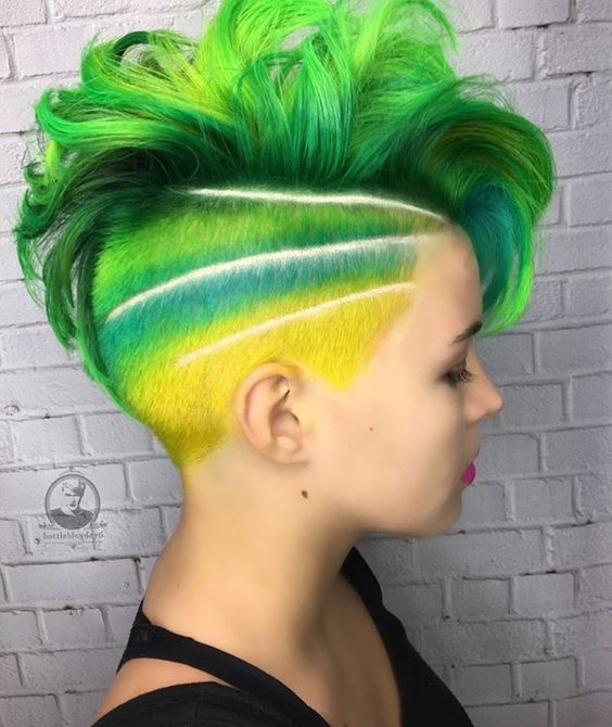36 Hair Color Ideas That Are Totally Trending On Pinterest - short mermaid yellow blue and green hair