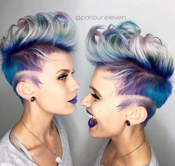 36 Hair Color Ideas That Are Totally Trending On Pinterest - ice icy winter blue and purple short hair