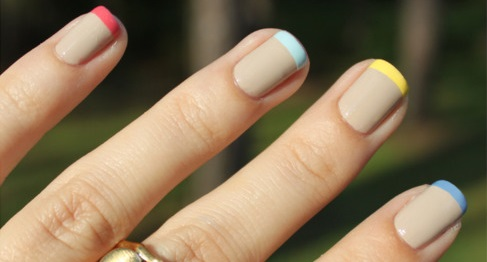 short nails with a pastel French manicure