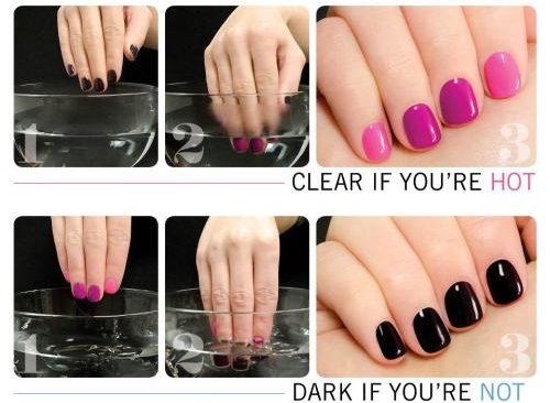a demonstration of how a nail polish changes its color