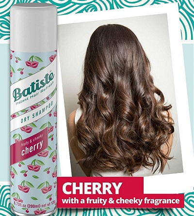 the Batiste cherry flavor dry shampoo bottle