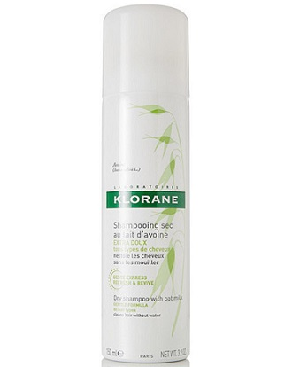 a small white bottle of Klorane dry shampoo