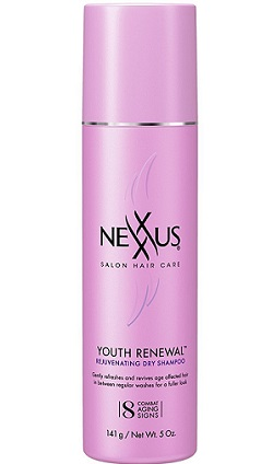 a pink bottle of Nexxus dry shampoo