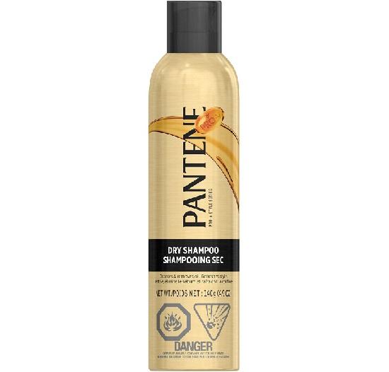 a golden bottle of Pantene dry shampoo
