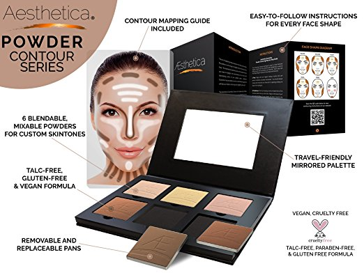 an Aesthetica Cosmetics contour and highlighting powder foundation palette kit with six shades