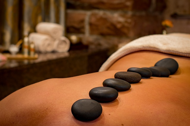 Hot stones at Elements Massage help you relax.
